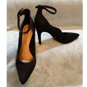 Black Glitter Ankle Strap Heels